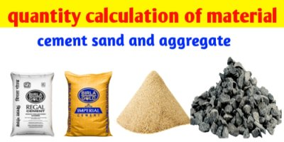 Calculate quantities of material for concrete-cement , sand, aggregate