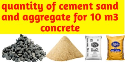 Quantity of cement sand and aggregate in 10 m3 of concrete