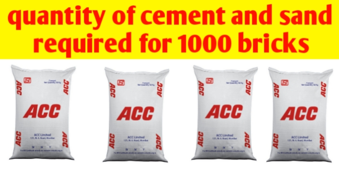 How many bags of cement for 1000 bricks