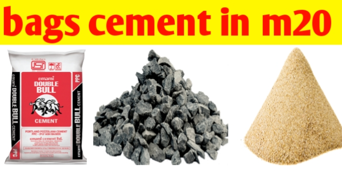 How many bags of cement in m20 grade of 1m3 of concrete