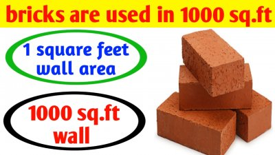 How many bricks required for 1000 square feet house & brick wall