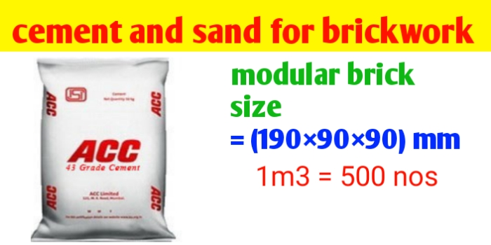 How to calculate cement and sand for brickwork
