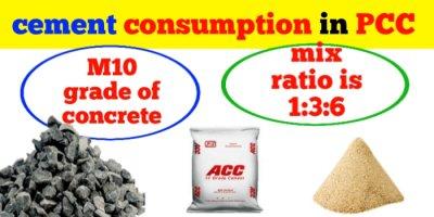 cement consumption in PCC 1:3:6