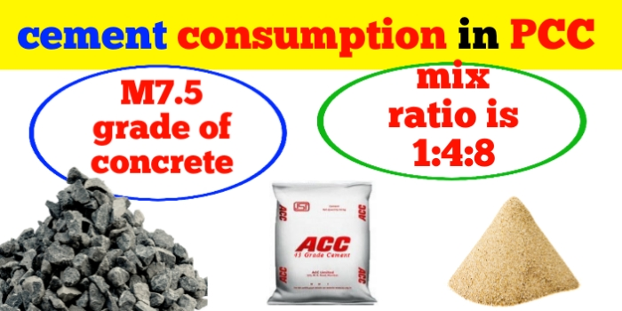 cement consumption in PCC 1:4:8 and M7.5