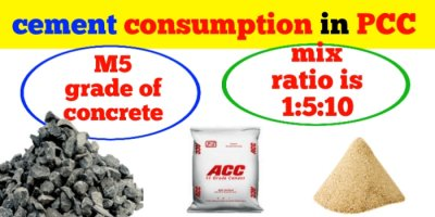 cement consumption in PCC 1:5:10 and M5