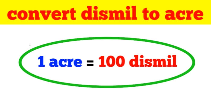 How to convert dismil to acre-acre is land measurement unit
