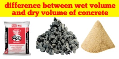 Difference between wet volume and dry volume of concrete