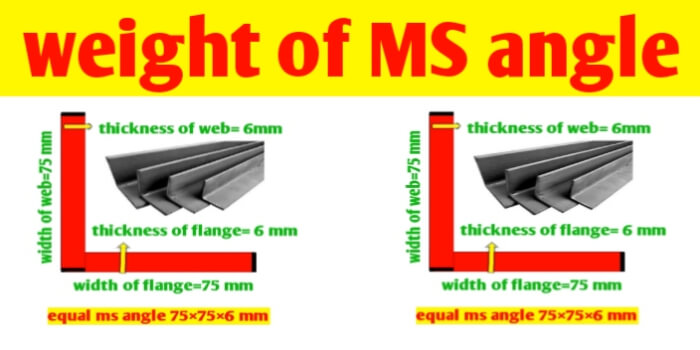 How to calculate weight of ms angle per meter