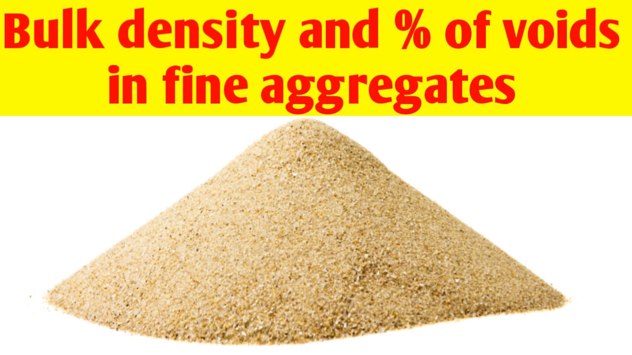 What is bulk density and % of voids of fine aggregates