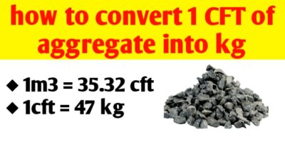 How to convert 1 CFT of aggregate into kg