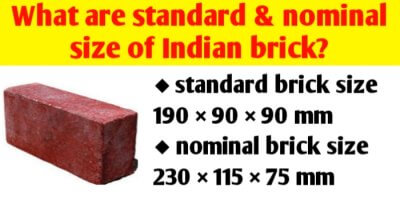 What is the standard size of Indian brick?