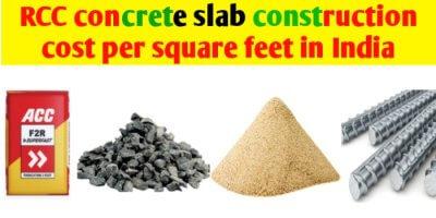 RCC concrete slab construction cost per sq ft in india