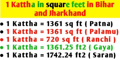 1 Kattha in square feet in Bihar and Jharkhand