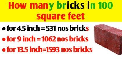 how many bricks in 100 square feet brick wall