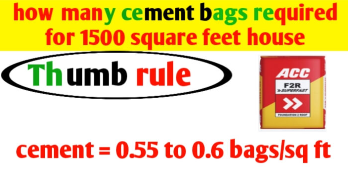 How many cement bags required for 1500 square feet house?