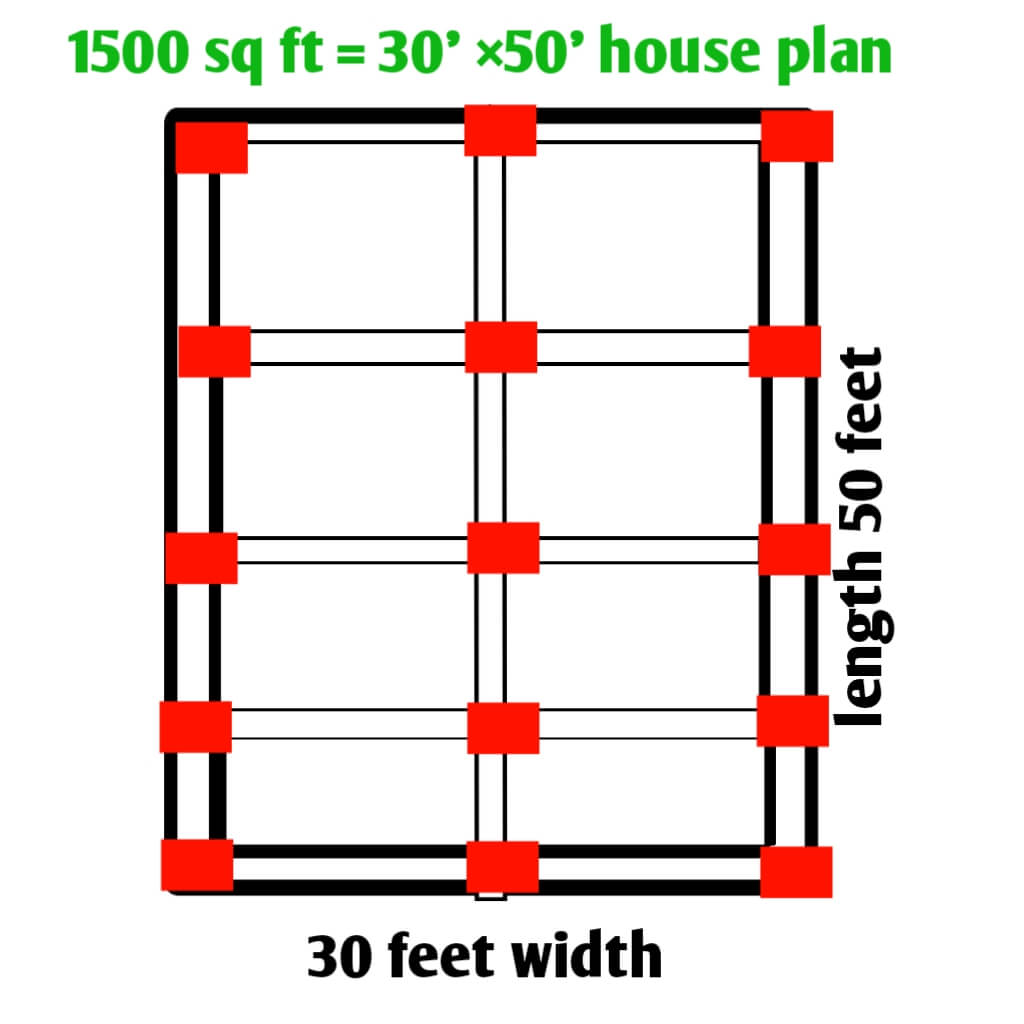 Rough plan of 1500 sq ft house