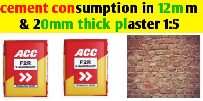 Cement consumption in plaster 1:5 for 1m2 area