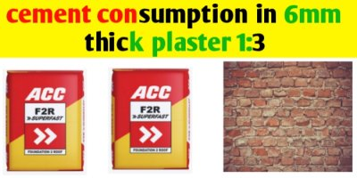 Cement consumption in plaster 1:3 for 1m2 area