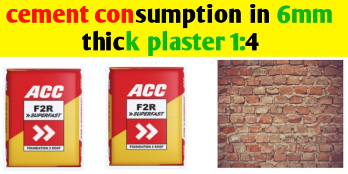 Cement consumption in plaster 1:4 for 1m2 area