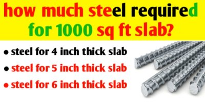 How much steel required for 1000 sq ft slab?