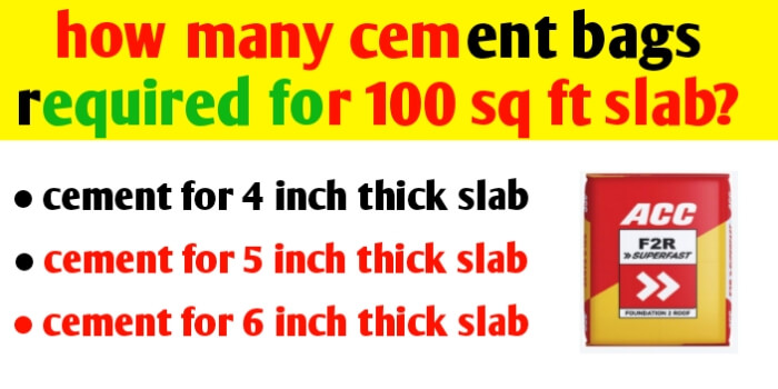 how many cement bags required for 100 sq ft slab