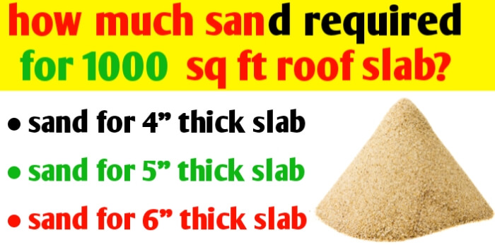 How much sand required for 1000 sq ft roof slab?