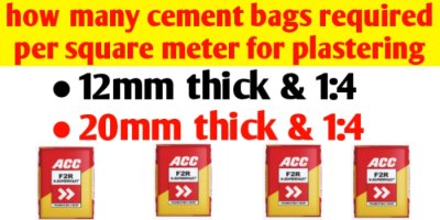 How many cement bags per square meter for plastering?
