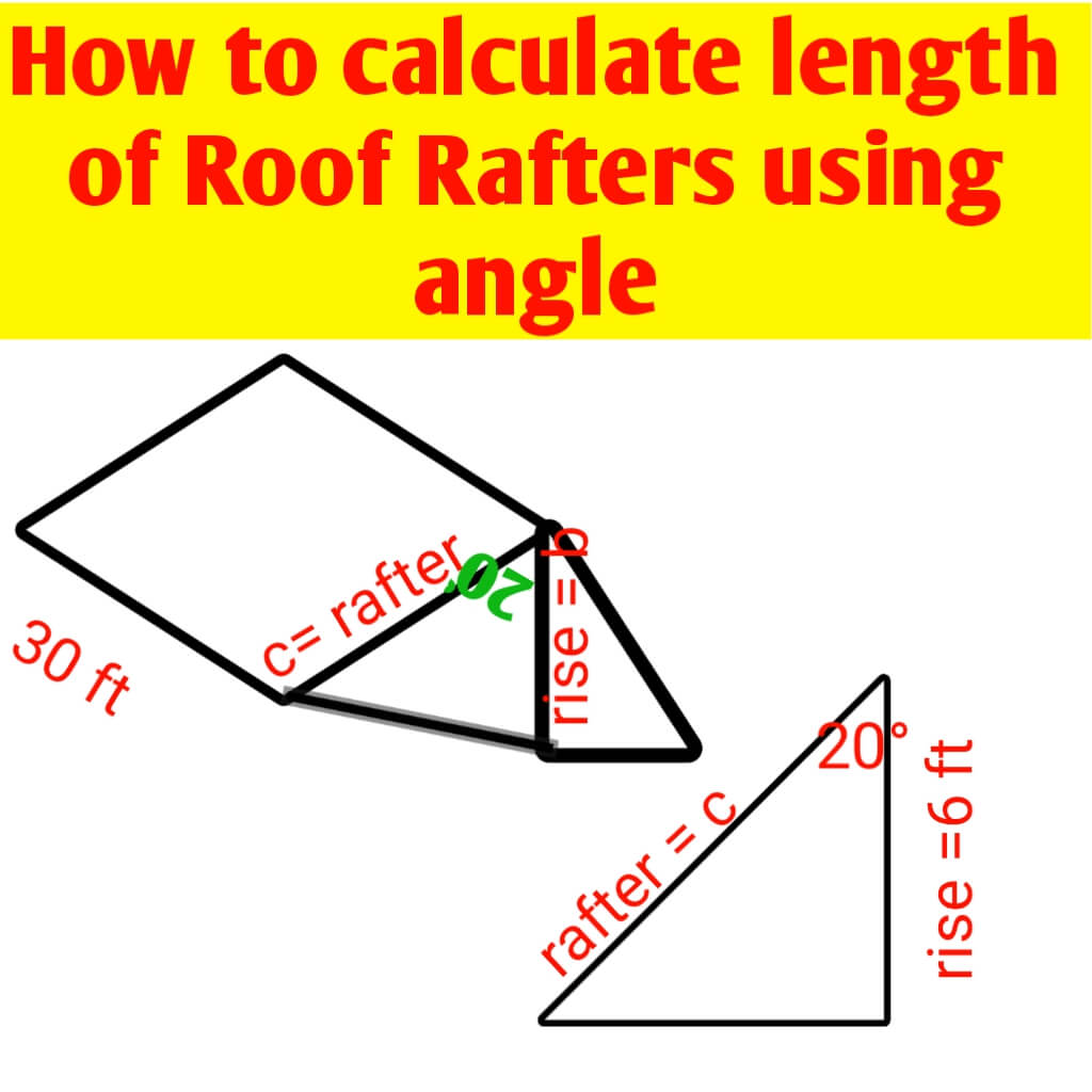 Calculate Roof Rafters length using angle