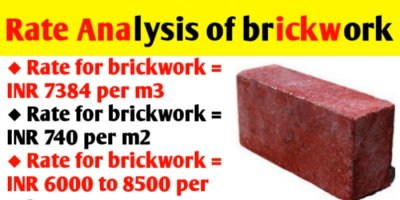 Rate analysis of brickwork - calculate quantity and cost