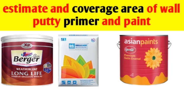 Estimate and coverage area of wall putty,primer and paint