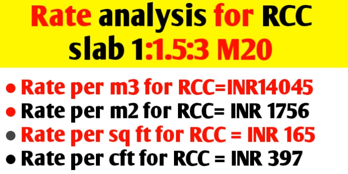 Rate analysis for RCC slab m20 - calculate quantity & cost