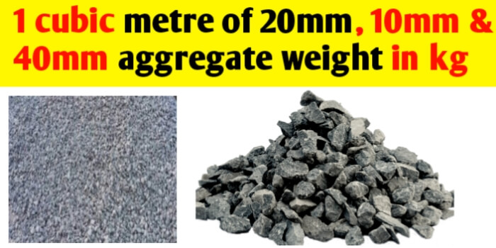 1 cubic meter 20 mm aggregate weight in Kg