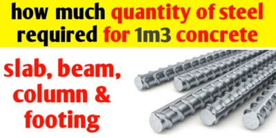 How much quantity of steel is required for 1m3 concrete