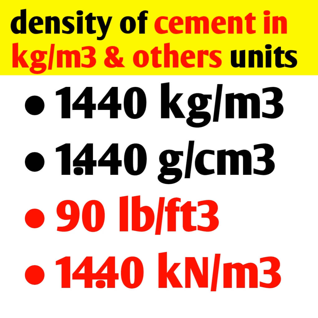 Density of cement in kg/m3 & others unit
