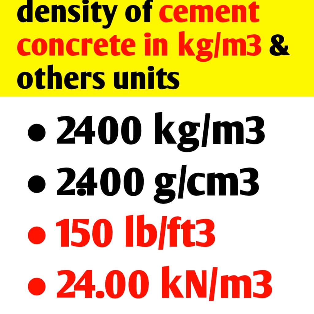 Density of cement concrete in kg/m3 & others unit