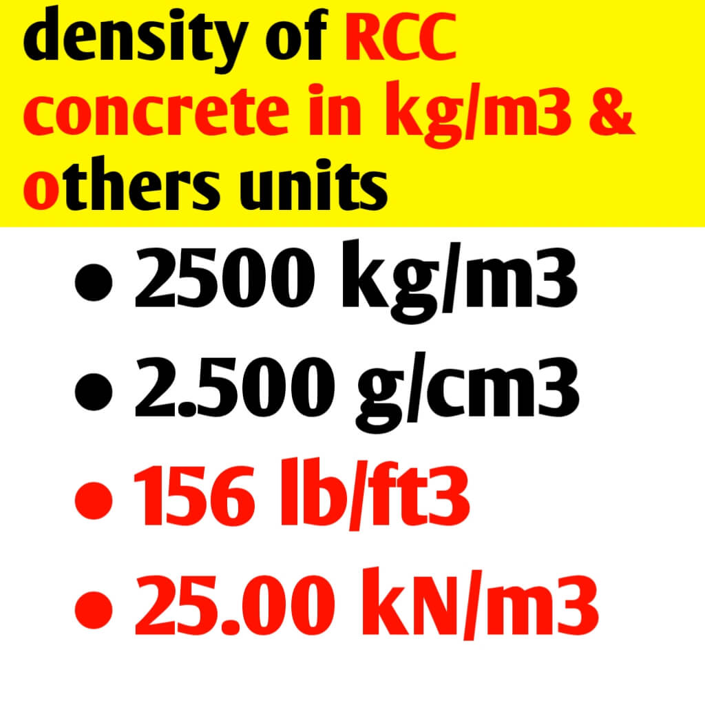 Density of RCC concrete in kg/m3 & others unit