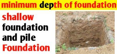 What is minimum depth of foundation &Rankine formula