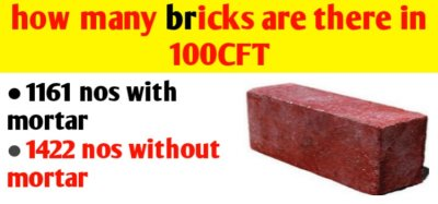 How many bricks are there in 100 CFT | brick calculation in CFT