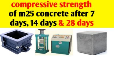 Compressive strength of M25 concrete after 7 days & 28 days