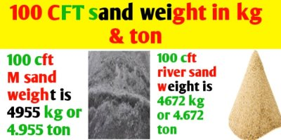 100 cft River & M sand weight in kg & ton