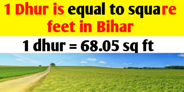 1 Dhur is equal to square feet in Bihar land measurement