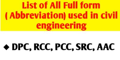 List of all full form like DPC PCC RCC used in civil engineering