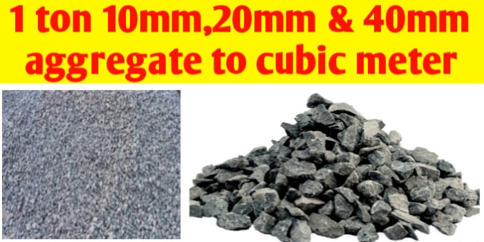 1 ton 10mm 20mm & 40mm aggregate convert to m3