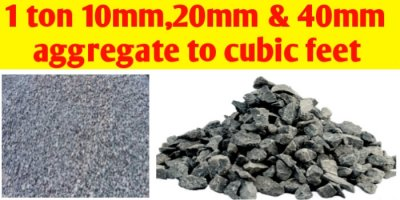 1 ton 10mm 20mm & 40mm aggregate convert to cft