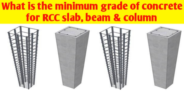 What is the minimum grade of concrete for RCC work?