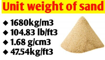 Unit Weight of sand in different unit like kg/m3, kn/m3, kg/ft3, g/cm3, cft