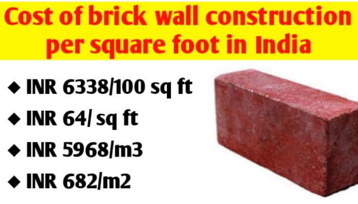 What is the cost of brick wall construction per square foot in India?