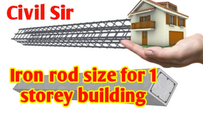Iron rod size for 1 Storey building for footing, column, beam & slab