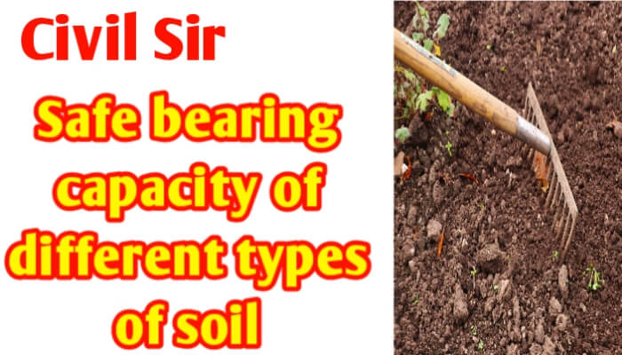 Safe bearing capacity of different types of soil