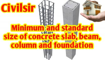 Minimum & standard size of concrete slab, beam, column and foundation